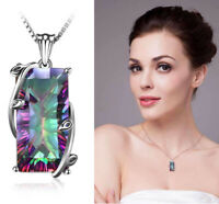 925 Silver Chain Mystic Rainbow Tourmaline Topaz Pendant Choker Necklace Jewelry