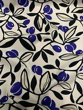 White Blue Fruit & Leaves Leaf Printed 100% Cotton Poplin Fabric