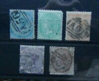 Jamaica 1860 - 70 values to 1s Used Pineapple Watermark