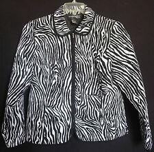 Petite Women's Size P Med Medium Animal Zebra Print Quilted Jacket Blazer