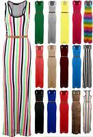 Ladies Plain Maxi Racer Back Belted Stripe Full Length Women's Summer Dress 8-14