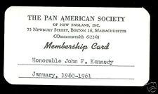 1960 J.F. KENNEDY PAN AMERICAN SOCIETY NEW ENGLAND CARD 1998 JFK GUERNSEY'S AUCT