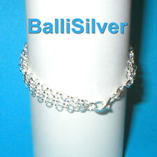 Sterling Silver 925 3.2mm Rolo Chain 4 Strands Anklet