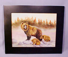 Hand Painted Signed Brown Mother Bear and Cubs Framed Porcelain Tile - Gorgeous!