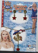 Lady Navy Necklace & Earrings Sailor Anchor Dress Up Halloween Costume Accessory