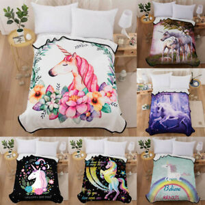 "Cute Unicorn Warm Fleece Throw Blanket 59""x79"" Soft Flannel Rug Couch Bed Kids"