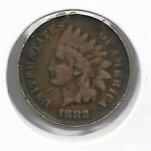 Rare Very Old Antique 1882 US Indian Head Penny Collectible Cent Collection Coin