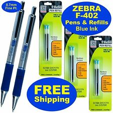 Zebra F-402 0.7mm Ball Point Pens & Refills, Blue Ink, 2 Pens, 3 Pack of Refills