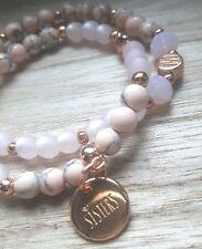 2x Armband Namensarmband rosegold Schwester / sister Wunschbuchstaben Set