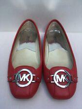 MICHAEL KORS Fulton MK Logo Medallion Moc Ballet Flats Red Saffiano Leather Sz 6
