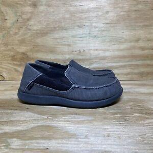 CROCS Santa Cruz Slip-On Loafer Shoes 204025 Kid's size J4 Gray Black