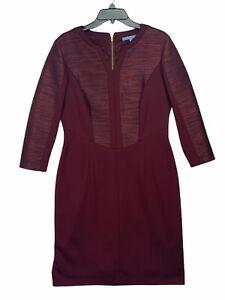 Antonio Melani Womens Maroon Heather 3/4 Sleeve Casual Sheath Dress Size 10