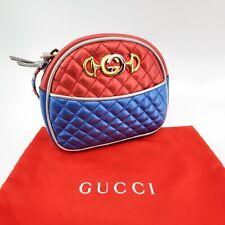 New Gucci Trapuntata Mini Red Blue Metallic Crossbody Bag Pouch Horsebit 11181