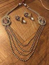 CLEARANCE Indian Pakistani Rani Har Gold Plated Peacock Multicolor Necklace Set