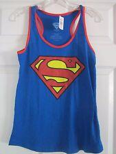 Blue Sleeveless DC Comics Superman Six Flags Woman's Size L Shirt Top