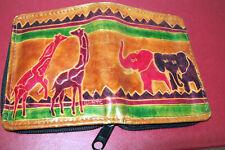 Vtg Mtc Tooled Leather Zippered Bifold Organizer Wallet Giraffe Elephant Design