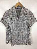 CECIL Bluse, Größe M, grau mehrfarbig kariert, Baumwollmischung
