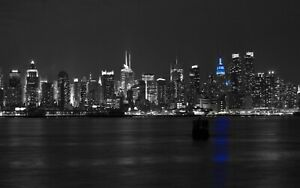 New York Skyline At Night Black & White Wall Home Decor Poster & Canvas Pictures