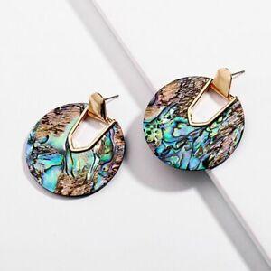 Colorful Round Dangle Earrings Women Abalone Shell Statement Bridal Jewelry Gift