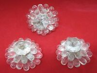 Lot of 3 Glass Lucite Flower Bead Decoration Tie Back Screw T80