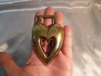 ANTIQUE ORIGINAL VICTORIAN HORSE BRASS-SOLID BRASS AND HEART SHAPED-19TH CENTURY