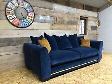 Ashley Manor 3 str sofa navy royal blue fabric velvet scatter back brass modern