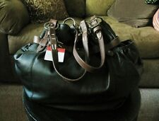 NWT LARGE HOBO INTERNATIONAL BLACK LEATHER PURSE WITH BROWN STRAPS, DUSTBAG