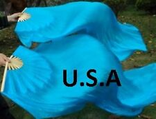 USA  QUICK SHIP ! BELLY DANCE  SILK  FAN VEILS 1.8m Best Top Quality ! FREE GIFT