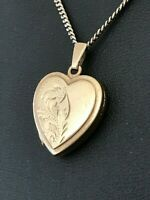 "Vintage Rolled Gold Heart Locket Pendant Necklace 18"" 46cm Curb Chain (D7J5)"