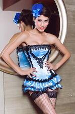 Burlesque Light Blue Black Satin Corset Bustier Skirt XL Extra Large 5127