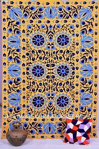 Ouzbek Brodé Suzani Double Tenture Murale Lit Housse Couvre-Lit Coton Literie