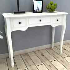 Country White Wooden Dressing Console Table with 3 Drawers Living Room Hallway