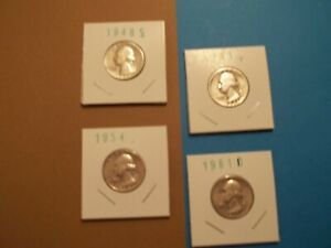 90% Silver Washington Quarters Lot of 4   1948 S, 1951, 1954, 1961 D   (155)