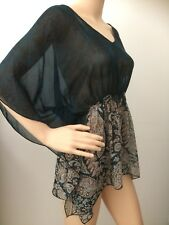 UCW Dark Forest Green/blue Paisley Sheer Thin Soft Baggy Batwing Top Size 14