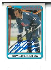 Guy Lafleur AUTOGRAPH 1990-91 OPC HOCKEY CARD SIGNED Quebec Nordiques