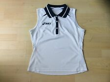 ASICS Ladies Classic White with Blue Trim Sleeveless Tennis Polo Shirt, Size: M
