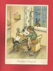 AK DDR von Ostern Künstlerkarte Charlotte Baron, 1956, Junge Schulbank, Hase