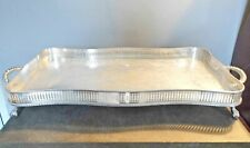 LOVELY VINTAGE SHEFFIELD SILVER PLATE SERPENTINE GALLERY TRAY 4 Ball & Claw Feet