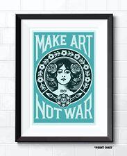 MAKE ART NOT WAR POP ART POSTER PRINT OBEY INSPIRED DUCK EGG BLUE TEAL ART PRINT