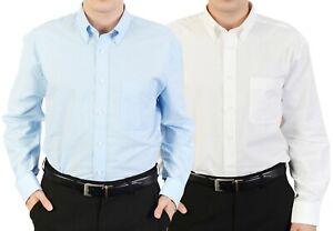 Mens Oxford Shirt Business Regular Collar Work Office Smart Formal Blue White