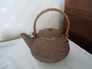 UNIQUE STONEWARE/POTTERY EMBOSSED TEXTURED TEAPOT W/ RATTAN HANDLE-JAPAN-LOOK!!