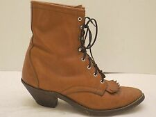 ladies 9 M vintage brown leather LAREDO lace-up ankle packer kilted cowboy boots