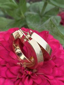 Tiffany & Co 14K Gold Large Bold Open Hoop Huggie Earrings, 10.5 Grams 1.1 Inch