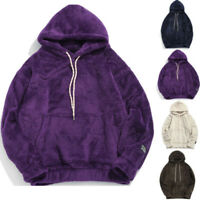 Men Teddy Bear Pocket Fluffy Coat Fleece Fur Jackets Outerwear Hoodies Top Hai12