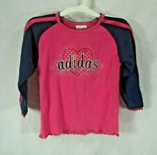 Girls size 3T Adidas pink navy blue heart stars stripes long sleeve shirt