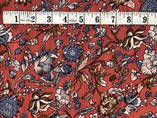 """Blue Tan Floral Soft Viscose Fabric 57"""" Wide Dressmaking Material by the metre"""
