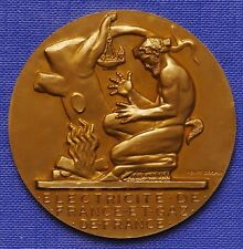~1930 FAUNUS/SATYR ELEKTRIZITÄTSWIRTSCHAFT FRANKREICH BRONZE 55mm SIGN.DROPSY