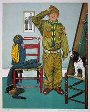 "NORMAN ROCKWELL Signed 1976 Original Color Lithograph - ""Can't Wait"""