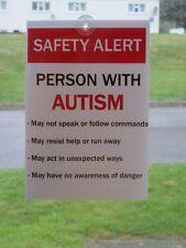 AUTISM SPECIAL NEEDS CAR AWARENESS SIGN NOTICES - Alerts emergency responders