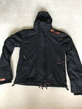 Mens SUPERDRY 'the Windcheater' Hooded Waterproof Coat Size Large Black Zip Up